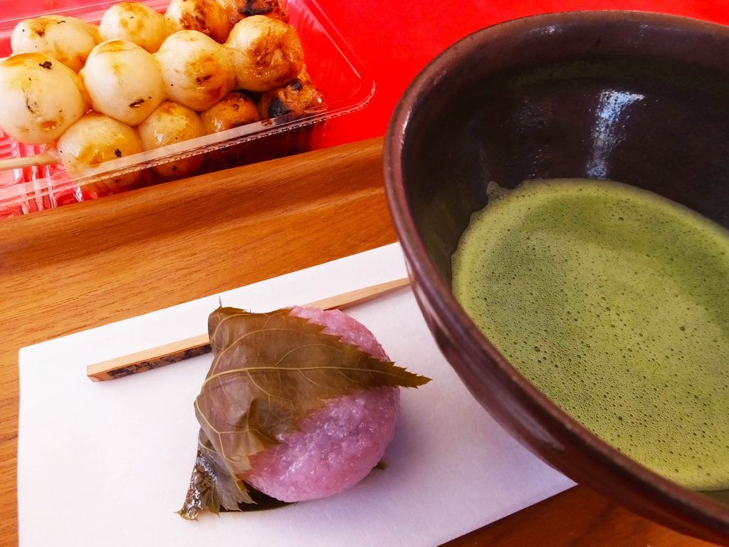 Japanese sweets and matcha green tea