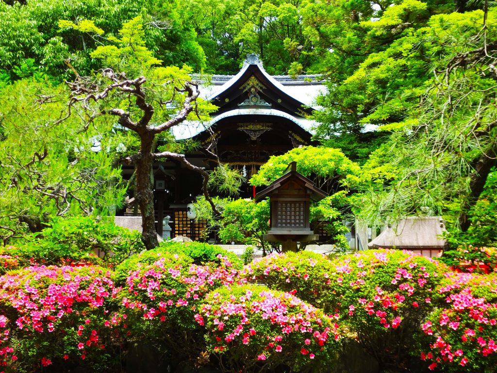 the haiden of Okazaki Shrine