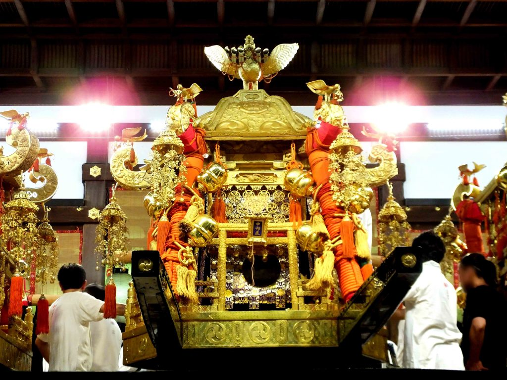 the mikoshi decorated as usual