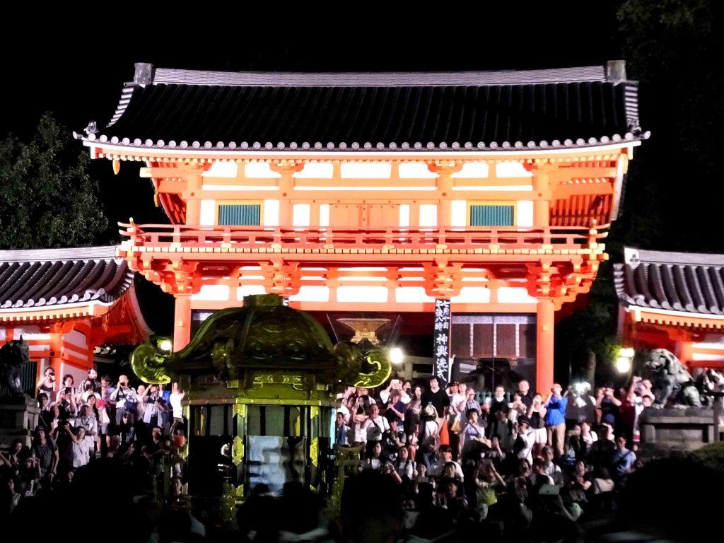 the mikoshi in front of Yasaka Shrine