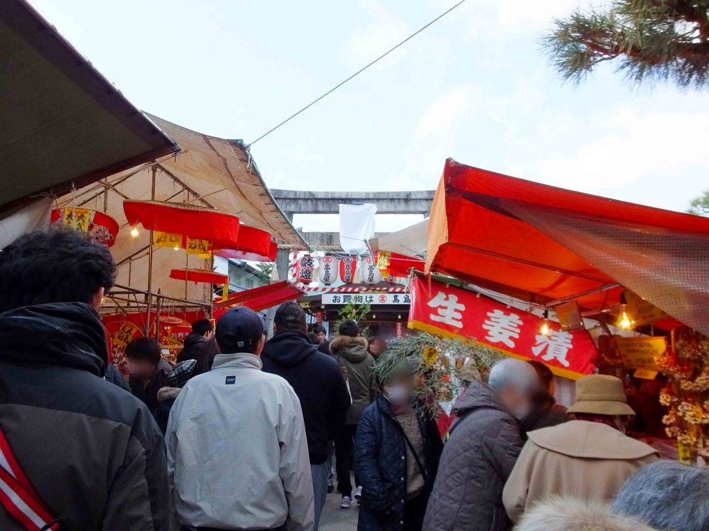 the second torii behind food stalls