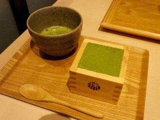 the matha tiramisu with matcha green tea