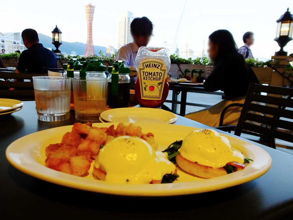 the eggs benedict and Kobe Port Tower
