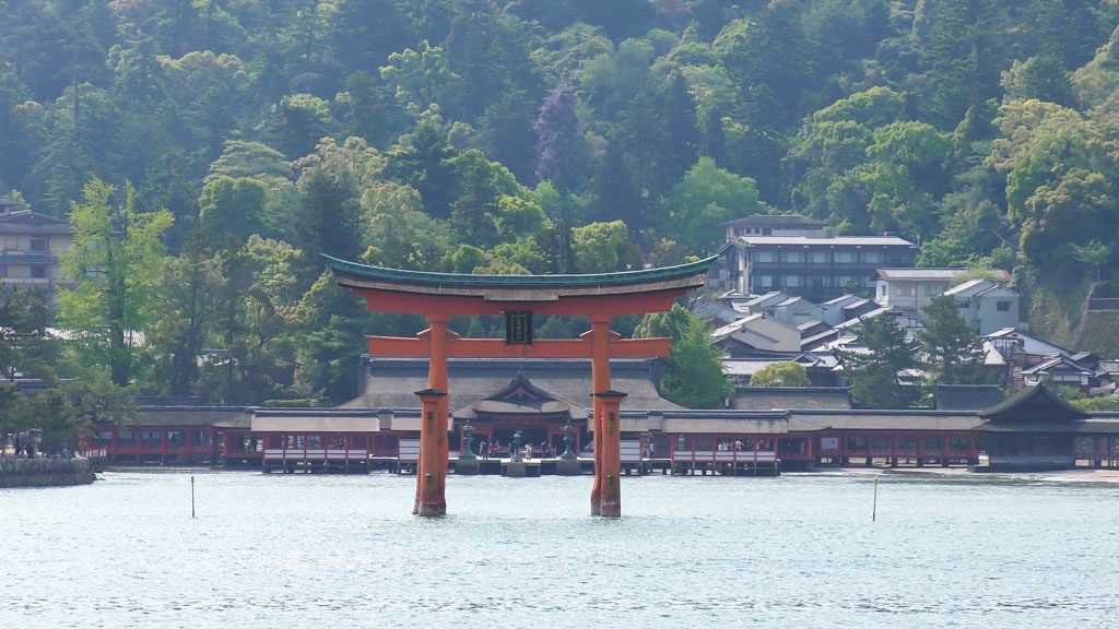 the view of Itsukushima Shrine