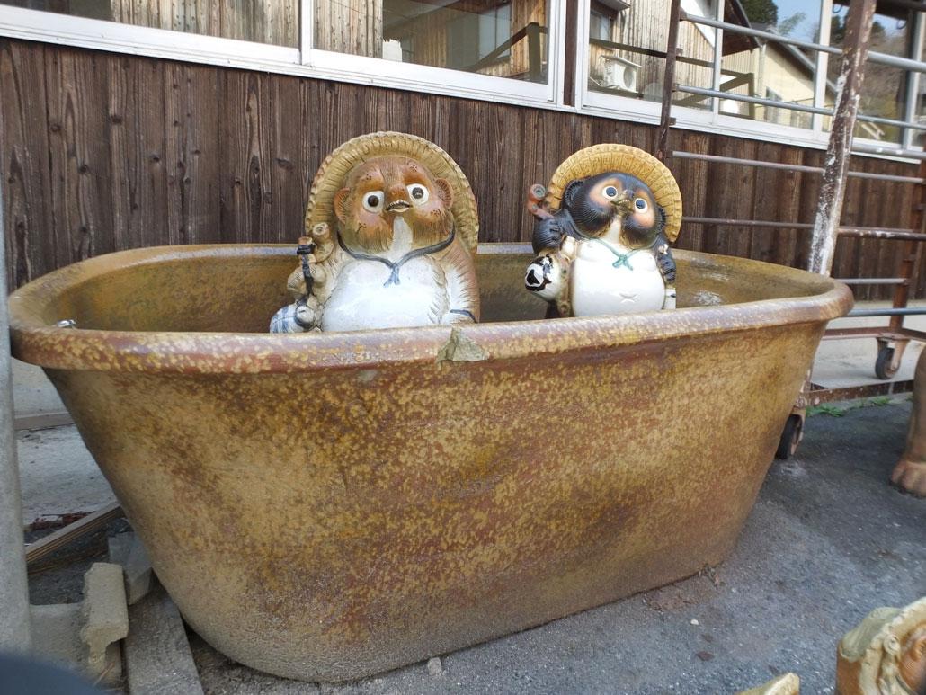 the tanuki pottery at Shigaraki Pottery Village