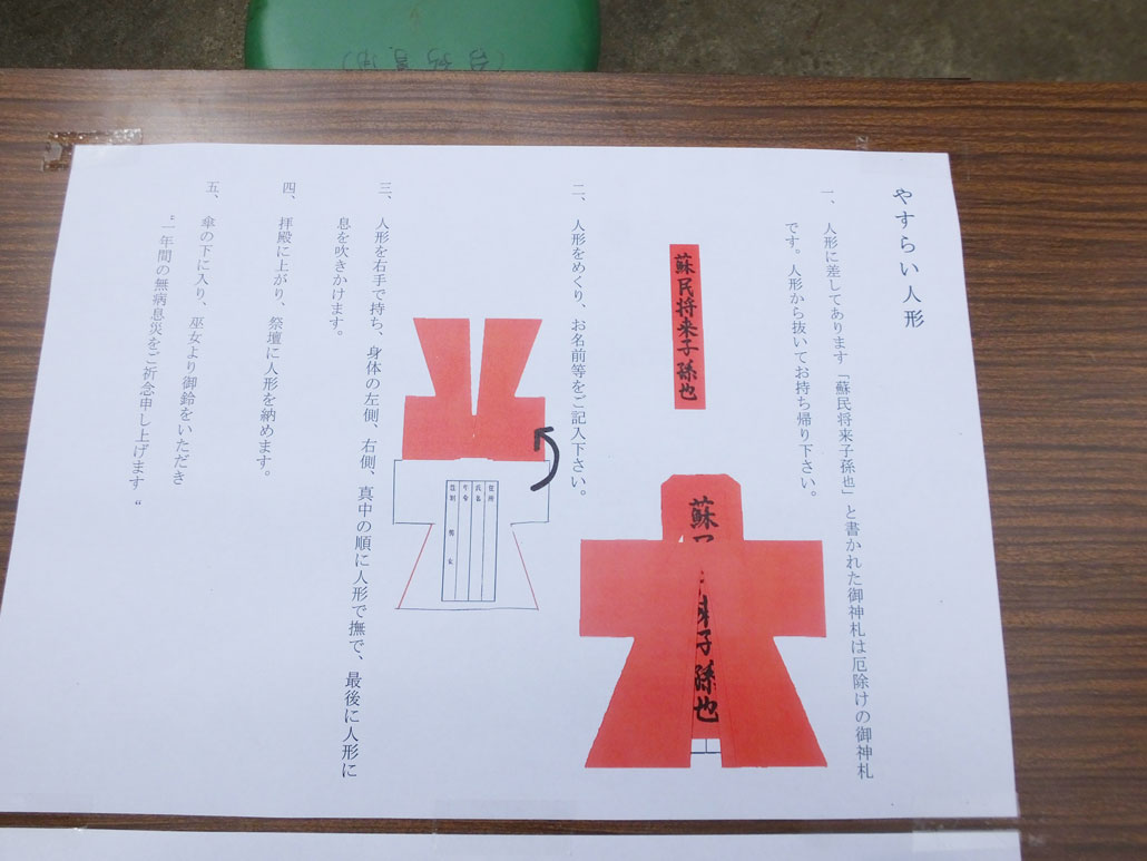 instructions on a table (Japanese)